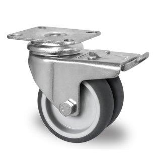 gibljivo kolo z zavoro pritrditvena priroba cascoo apparatus twin wheels r 75 mm termoplasti 269 na guma tpr 1 1